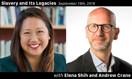 Graphic that shows Elena Shih and Andrew Crane, and the date the podcast episode